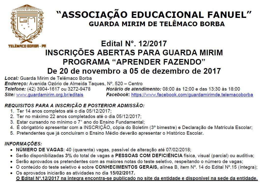 A Associao Educacional Fanuel Estar De 20 Novembro 5 Dezembro Com Inscries Abertas Para Guarda Mirim Programa Aprender Fazendo