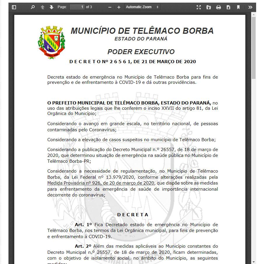 Decreto Municipal libera atividades comerciais, mas com restrições